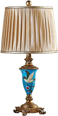 Lampada da Tavolo ZXW- Lampada da Comodino con Fiori e Uccelli Dipinta a Mano Europea Lampada da Comodino Camera da Letto in Tessuto Decorativo