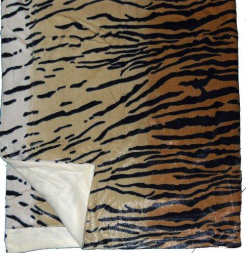 Unbekannt Tierfellimitat Wende Decke 150 x 200 cm, Wohndecke, Tagesdecke, Kuscheldecke (indischer Tiger)