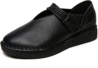 Women's Shoes New 2019 Loafers & Slip-Ons Soft Leather Oxford Bottom Maternity Shoes Casual/Daily Walking Shoes,Black,37