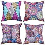 Mandala Blumen Kissenbezüge 45cm x 45cm Kissen Boho Bezüge 4er Pack Dekorativ für Wohnzimmer, Schlafzimmer, Sofa