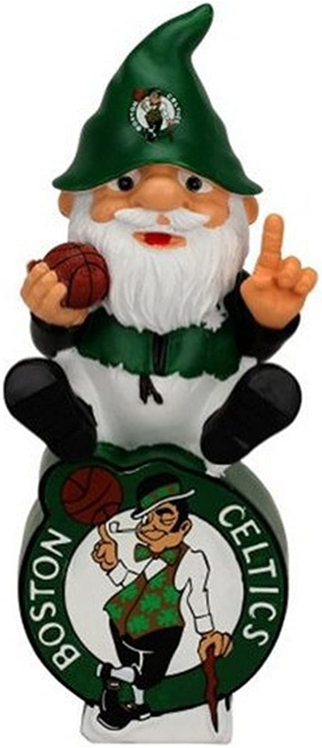 Forever Collectibles Boston Celtics Gnome Sitting on Team Logo