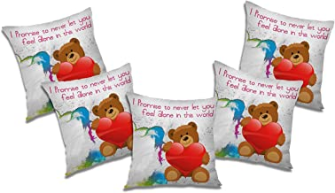 RADANYA Let You Alone Printed Polyester Cushion Cover Set of 5 Pcs - 18x18 Inch, Ivory