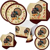 Includes 16 dinner plates, 16 dessert plates, 16 luncheon napkins, 16 beverage napkins & 1 plastic table cover Design features a turkey and fall leaves Great for Thanksgiving Premium strength plates Easy clean up