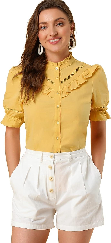 Allegra K Womens Stand Collar Button Down Shirt Short Sleeve Ruffle Neck Eyelet Blouse Top