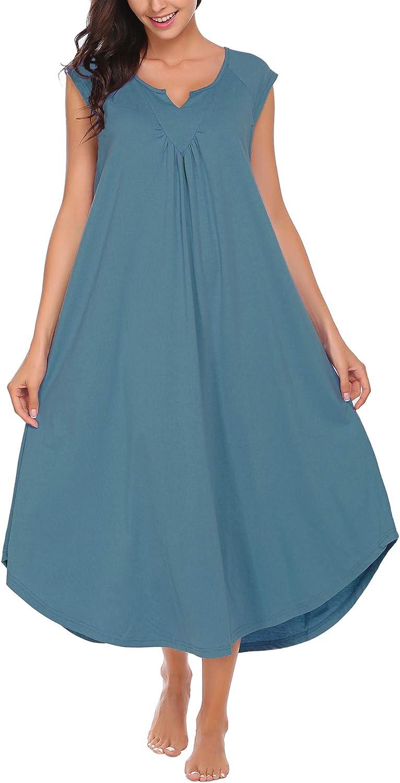 DEALKOO Short Sleeve Nightgown for Women Sleepwear Loungewear V Neck Long Maxi Dress