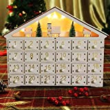 MorTime 24 Day Advent Calendar Premium Christmas Dcor   Painted Characters   100% Wood Construction   Cute Holiday Decoration   Measures (Large with LED Light)