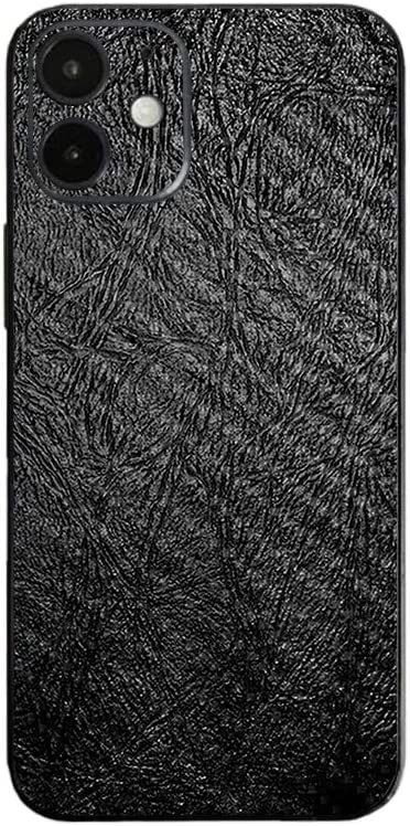 MightySkins Carbon Fiber Skin Compatible with Apple iPhone 12 Mini - Black Leather | Protective, Durable Textured Carbon Fiber Finish | Easy to Apply | Made in The USA, CF-APIPH12MI-Black Leather