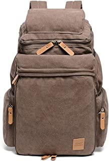 XHHWZB 15.6 Inch Casual Men's Backpack, Vintage Travel Bag, Large-Capacity Canvas