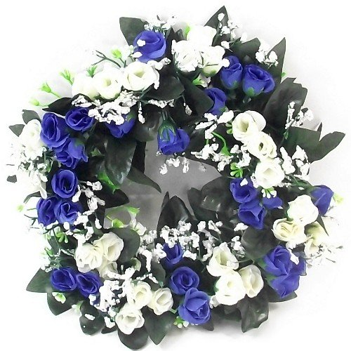 Couronne de roses artificielles de 30 cm de couleur bleue/ivoire/crème pour l'intérieur ou l'extérieur, convient pour une décoration d'intérieur, un mariage ou une tombe