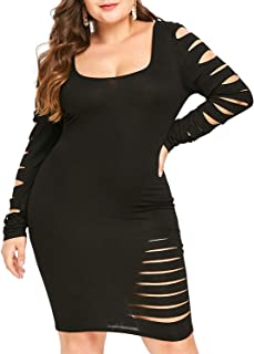 b0fa2b8a8ad KENANCY Women s Sexy Plus Size Ripped Bodycon Dress Long Sleeve Distressed  Fitted Dresses