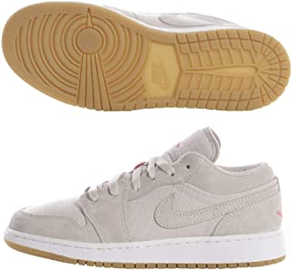 Jordan Kid's Air 1 Low BG, Desert Sand/White-Gum Yellow, Youth Size 5