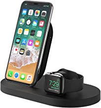 Belkin Boost Up Wireless Charging Dock for iPhone + Apple Watch + USB-A Port (Wireless Charger for iPhone XS, XS Max, XR, X, 8/8 Plus, Apple Watch 4, 3, 2, 1) - Black (Renewed)