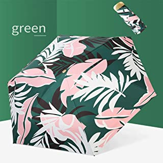 Compact Sun Umbrella-Lightweight and Portable Leaf Umbrella with Rain and UV Protection,Green