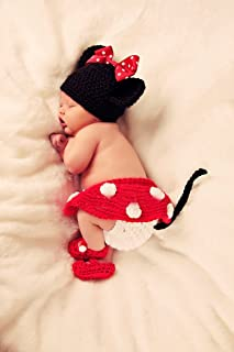 Baby Girl Crochet Outfits Infant Photo Prop Clothes Cute Knit Photography Handmade Costume Hat Cap Set BLUETOP