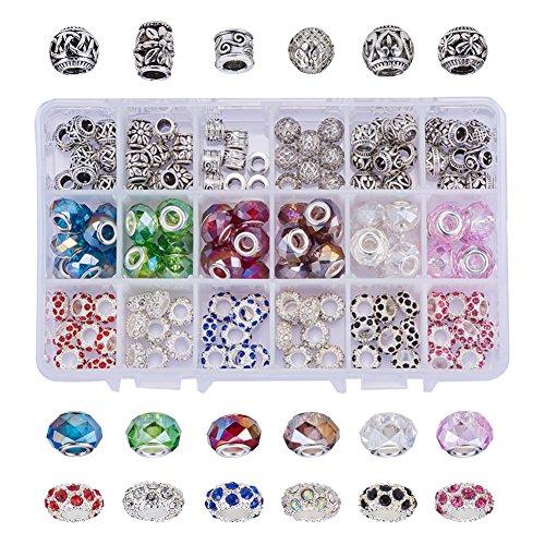 NBEADS 1 Box von 144PCS europäischen Charme Armband, Kits-Messing & Legierung Strass & Glas europäischen Perlen mit großen Loch Fit Snake Style Bettelarmband