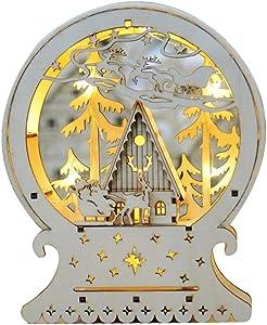 YANKAN Luz Nocturna Infantil, LáMpara Infantil Luz Decorativa Led,(Nieve Coche Adornos De Navidad, Adornos De Casa De Madera De La Luz)