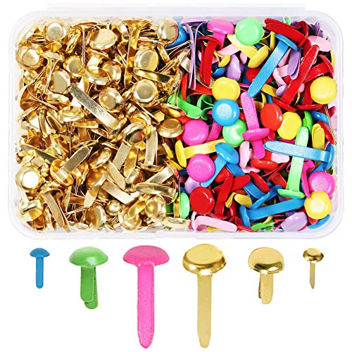 MAMUNU 500 Pieces Assorted Sizes Split Pins, Multicolor and Round Brass Plated Paper Fasteners, DIY Art Craft Accessories, Scrapbooking Brads, Craft Pins Pushpin, with Storage Box