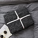 100% Cotton Knit Throw Blanket Super Soft Fish Bone Pattern Bedroom Couch/Sofa Cover Quilt(Black and White,71'' x 79'')