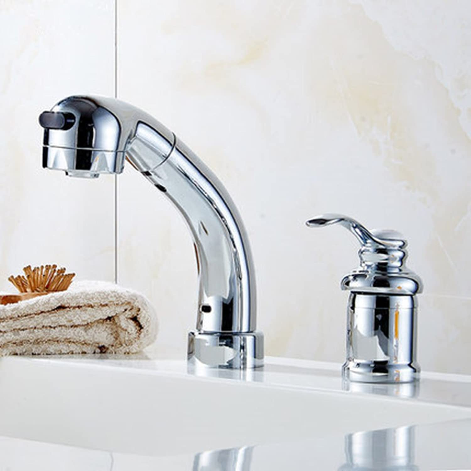 QJIAXING Split Type Double Hole Copper Pull Out Basin Faucet Telescopic Shower Head Mixing Bathroom Tap,A
