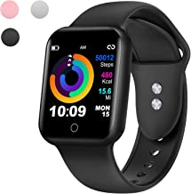 Smart Watch for Android and iOS Phones, Fitness Tracker with Heart Rate Monitor, Activity Tracker, Step Counter,Sleep Monitor,Pedometer, Calorie Counter, IP68 Waterproof Smartwatch for Women Men Black