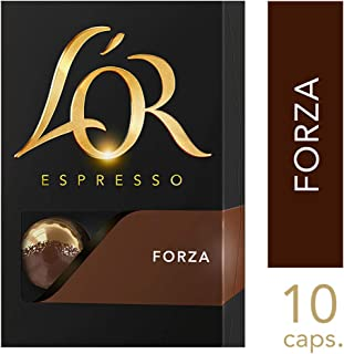 L'OR Espresso Coffee Forza Intensity 9 - Nespresso®* Compatible Aluminium Coffee Capsules - Pack of 10 capsules (10 drinks)