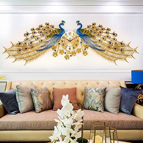 FCX-CLOCKS Wohnkultur Europäische Pfauen Wand Uhr,Crystal Wohnzimmer Uhr Kreative Persönlichkeit Kunst Dekoration Wanduhr Große, Largepeacock (145 X 75cm)