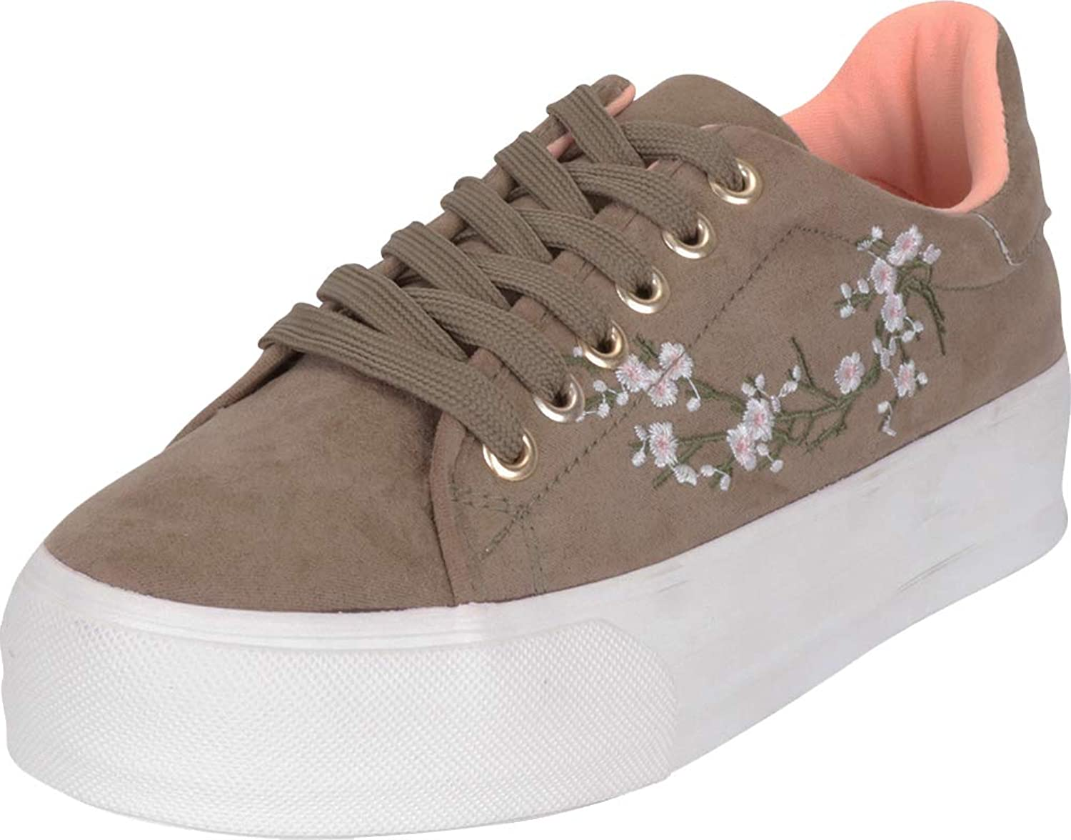 Cambridge Select Women's Low Top Floral Cherry Blossom Embroidered Platform Flatform Fashion Sneaker