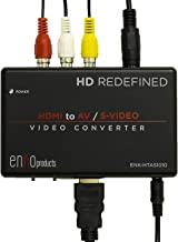 enKo products Mini HDMI to AV RCA Composite & S-Video Video R/L Audio Converter with High Speed HDMI Cable (6.5 Feet / 2 Meter)
