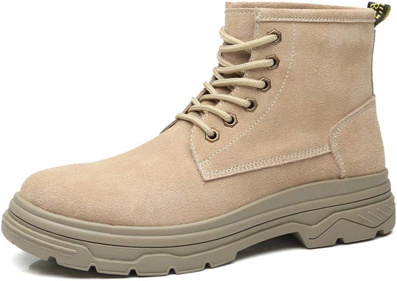 EGS-schuhe Kurze Stiefel Herren British Style Retro vielseitige Werkzeug Herrenschuhe, Martin Schuhe,Grille Schuhe (Farbe   Sand Farbe, Größe   43)