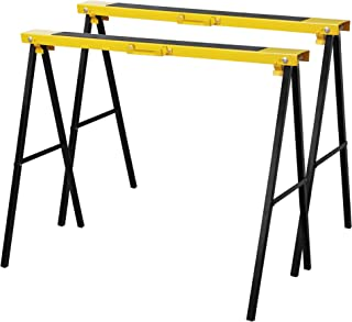 Forup Portable Folding Sawhorse, Heavy Duty Twin Pack, 275 lb Weight Capacity Each 2 Pack (Yellow)