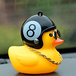 ZENGJIABIN Car Ornaments Decoration Motorcycle Bicycle Small Yellow Duck Horn With Helmet Bells Riding Equipment Car Decoration Accessories