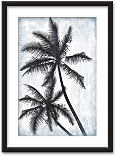 wall26 - Framed Wall Art - Palm Trees on Retro Style Background - Black Picture Frames White Matting - 23x31 inches