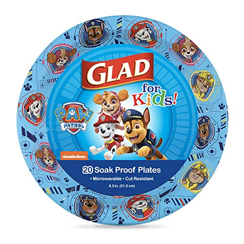 Glad for Kids Paw Patrol Paper Plates, 20 Count, 8.5 Inches   Disposable Paw Patrol Plates for Kids   Heavy Duty Disposable Soak Proof Microwavable Paper Plates for All Occasions