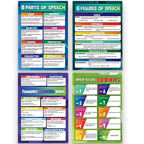 4 Pieces English Grammar Posters Educational Literary Wall Signs for Middle School and High School Classroom Decorations or Homeschool Supplies,16 x 11 Inch (colourful, 4)