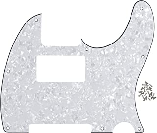 FLEOR 8 Hole Tele Pickguard Guitar Humbucker Pick Guard HH with Screws Fit USA/Mexican Fender Standard Telecaster Part, 4Ply White Pearl