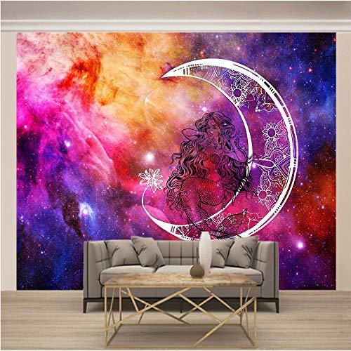 Fotomural 3D Diosa De La Luna Estrellada De Color 350x250cm/138x98.5in(Wxh) Papel Tapiz Fotográfico Murales Grandes Sofá Dormitorio Moderno Pintura Mural Decoración Para El Hogar