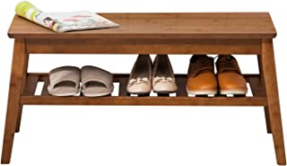 Shoes Rack Bench NNEWVANTE Free Standing Organizaing Rack Bamboo Sturdy Shoes Storage Rack, 33.6inch Walnut