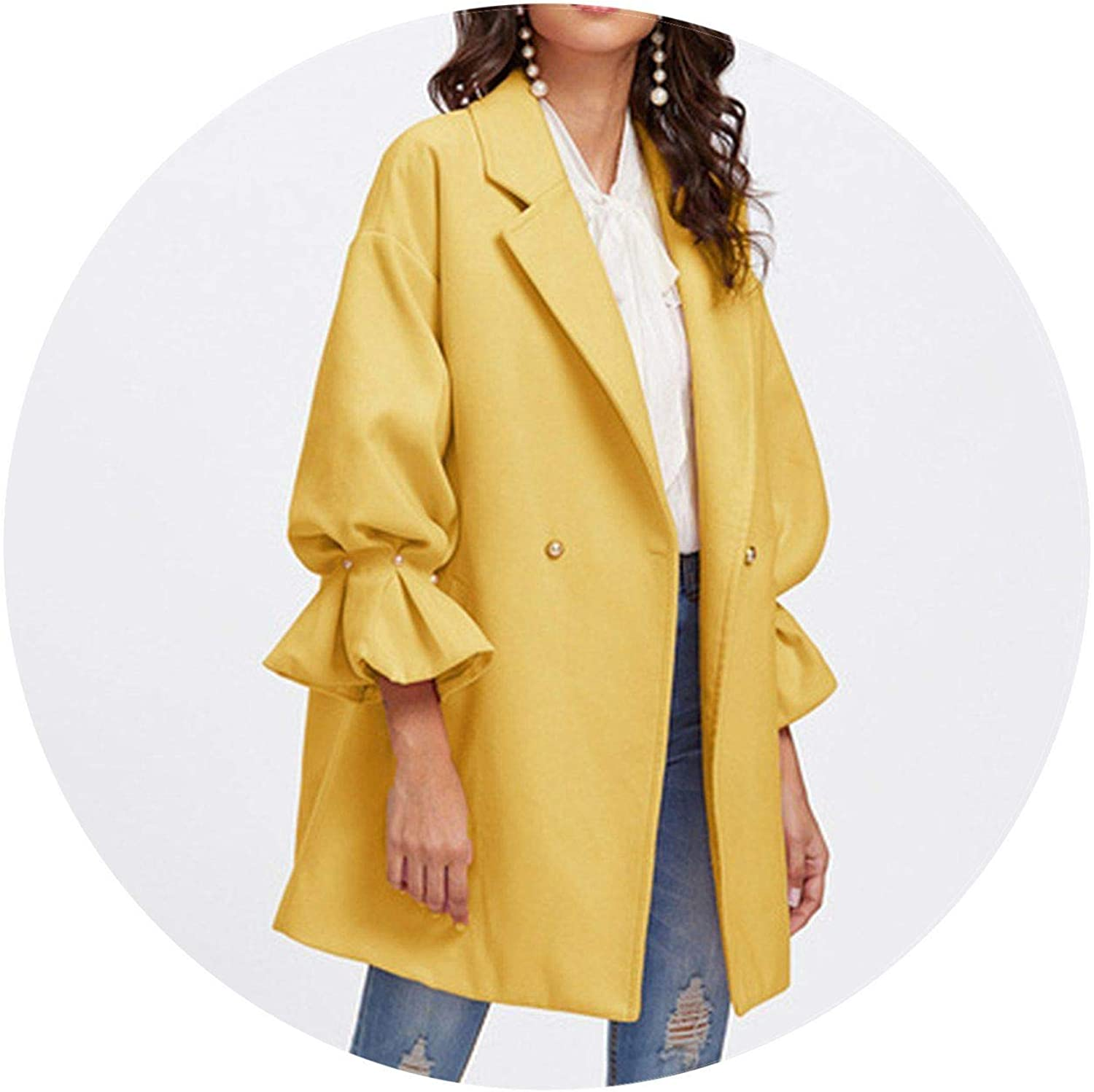 Jifnhtrs Yellow Elegant Drop Shoulder Pearl Detail Ruffle Cuff Coat Women Minimalist Clothes
