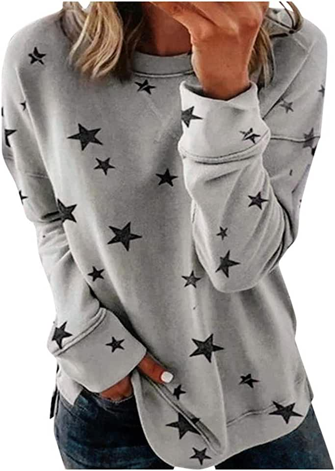 Yxiudeyyr Women Round Neck Long Sleeve Star Print Sweatshirt Side Split Pullover Plus Size Solid Party Casual Tunic Tops