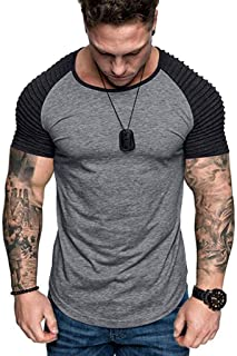Lookatool Mens T-Shirt Men Casual Slim Fit Short Sleeve Henley for Men Shirts #19040105#
