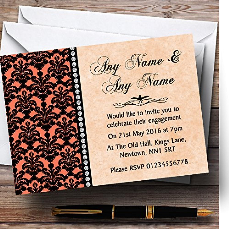 Coral Black Damask & Diamond Personalised Engagement Party Invitations   Invites & Envelopes
