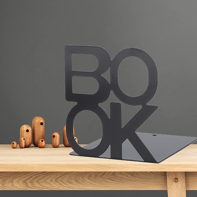 Asixxsix Bookend Organizers, 1Pair Metal Bookend, Decorative Hea