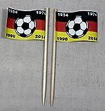 Buddel-Bini Party-Picker Flagge Deutschland 4X Fußball Weltmeister Papierfähnchen in Spitzenqualität 50 Stück Beutel