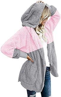 FIRERO Womens Winter Woolen Waterfall Solid Jacket Coat Ladies Belted Cardigan Outwear Jumper