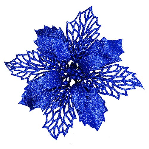 24 Pcs Christmas Blue Glittered Mesh Holly Leaf Artificial Poinsettia Flowers Picks Tree Ornaments 5.9' W for Blue Christmas Tree Wreath Garland Floral Gift Winter Wedding Holiday Decoration