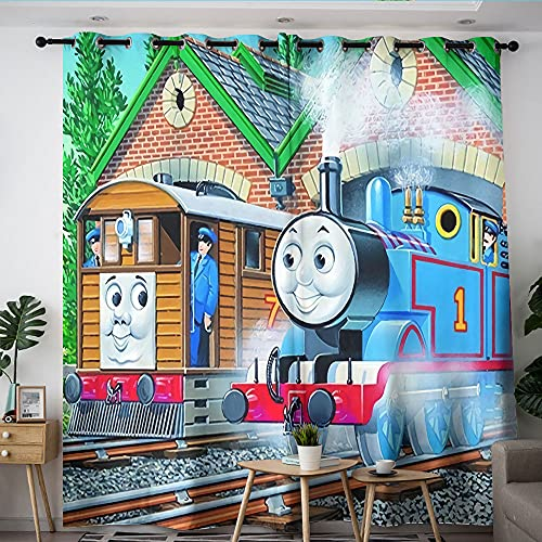 Juego de 2 cortinas de dormitorio Thomas Train Park sombreado de tela para dormitorio y sala de estar 182,8 x 243,8 cm