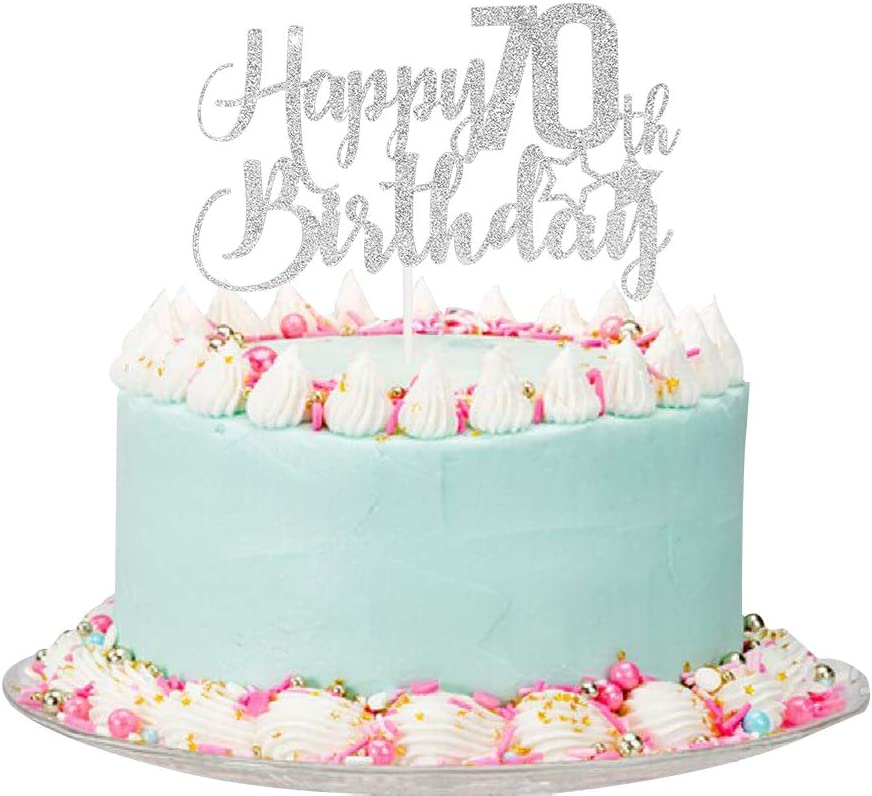 Silver Glitter Happy 70th Birthday All stores are sold - sold out Topper C Cake