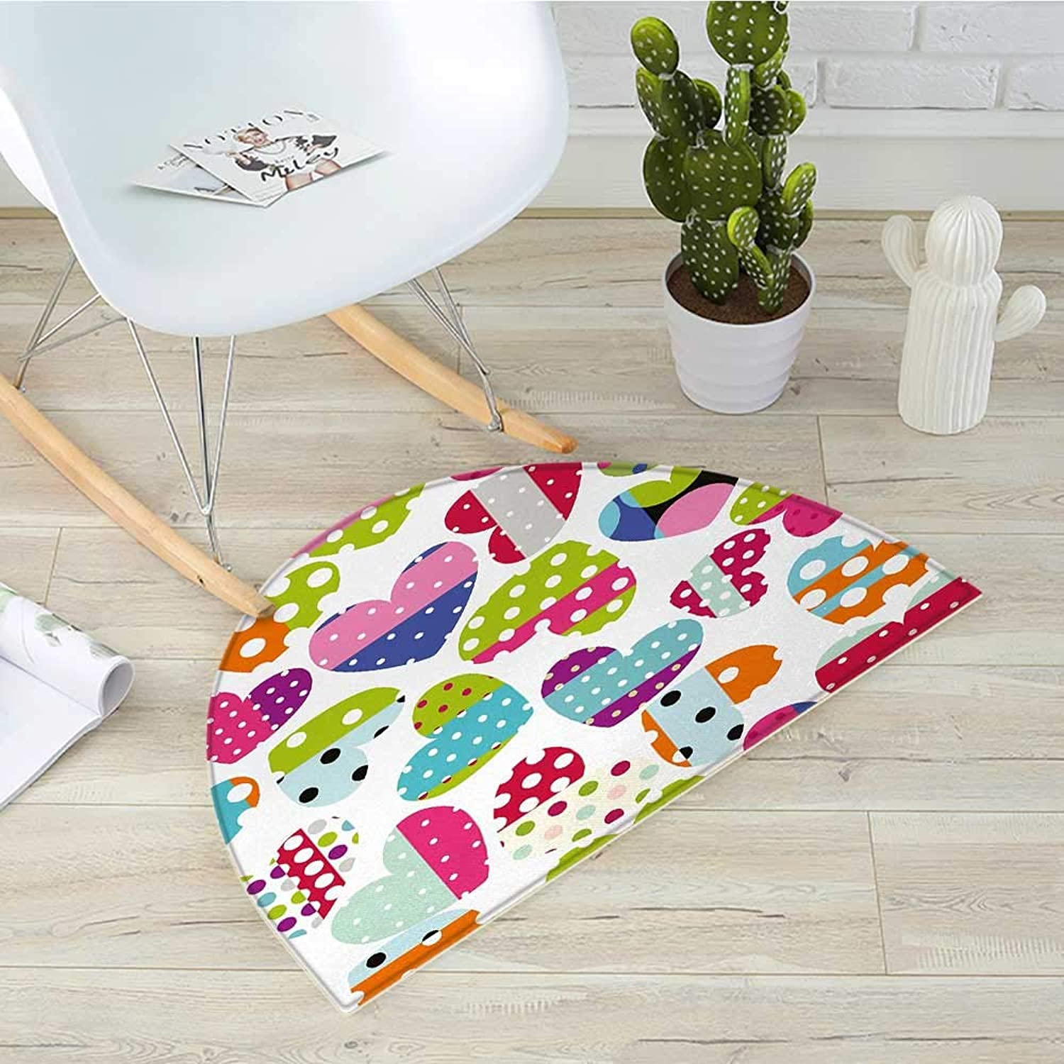 colorful Half Round Door mats Heart Shapes with Patches and Polka Dots Cute Cheerful Pattern Design Artwork Bathroom Mat H 31.5  xD 47.2  Multicolor