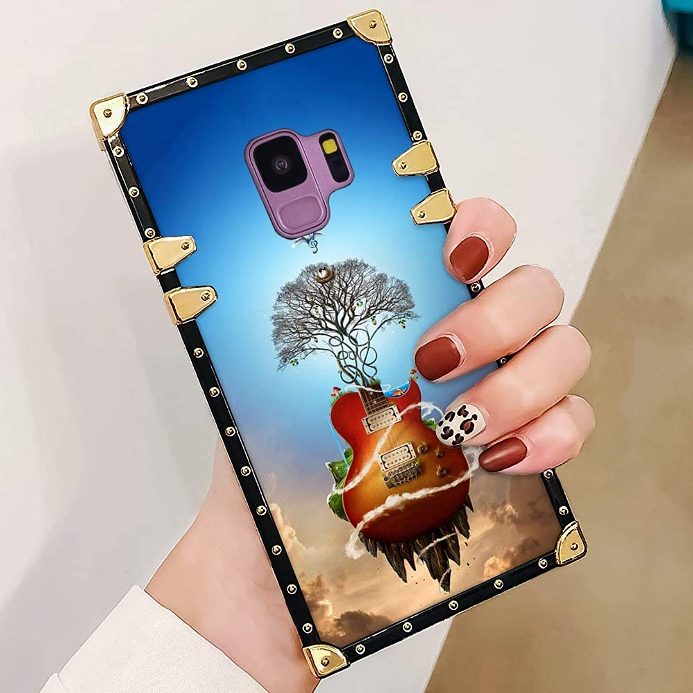 Phone Case for Samsung Galaxy S9 Square Edge Design Guitar Tree Luxury Phone Cover for Girl Women Shock Cushion Back Case