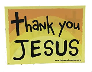 Memory Cross Thank You Jesus Christian Yard Sign Printed on Both Sides with Stakes - 5 Pack